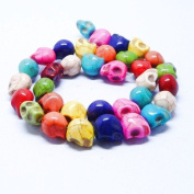 Dyed Multicolor Turquoise Magnesite : Skull-Carved - 12mm Height, 10mm Width, 13mm Thickness , No Grade - Sold by
