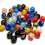 Moxx Millefiori Flower Lampwork Glass Round Beads 8mm
