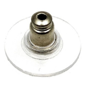 Silver Ear nut with plastic backing.