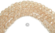 6mm (68) Crystal Champagne, Czech Fire Polished Round Faceted Glass Beads, 16 inch strand