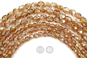 Choose a Size, Crystal Celsian Half coated, Czech Fire Polished Round Faceted Glass Beads, 41cm