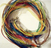 10pcs Mixcolor Voile Ribbon Necklace Cord 46cm W/extender