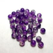 "Moxx 2-tone 8mm Round Crackle Lampwork Glass Beads Purple/clear ""Frozen Grape"""