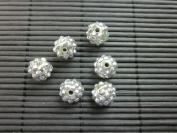 12mm Rhinestone Bead Silver 20 Pieces