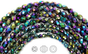 Choose a Size, Jet Full AB (AB2X), Czech Fire Polished Round Faceted Glass Beads, 41cm strand