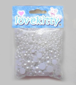500 pcs White Mixed Sizes Flat back Pearl Cabochon by Lovekitty