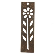 Vintaj Natural Brass Long Tall Rectangle Flower Stencil Pendant 48mm