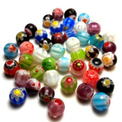 Moxx Millefiori Flower Lampwork Glass Round Beads 6mm