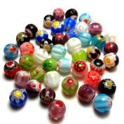 Moxx Millefiori Flower Lampwork Glass Round Beads 6mm
