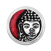 Chunk Snap Button Charm Rhodium Plated Buddha Glass Cover 18 mm for Fashion Jewellery Leather Bracelets