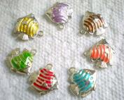 7pcs Mix Colours Oil Drip 2-side Fish Pendant Charms Fit Bracelet