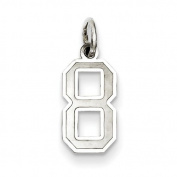 Sterling Silver Small Satin Number 8. Metal Wt- 0.36g
