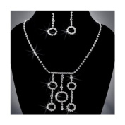 Crystal Rhinestone Necklace Chain and Earring Set, Crystal/Silver NEC_2007
