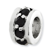 Sterling Silver Black Cz Spacer Enhancer, Best Quality Free Gift Box Satisfaction Guaranteed