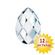 CrystalPlace Clear 12 Pieces Faceted Glass Almond Decorative Charm in 3.8cm