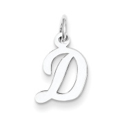 Sterling Silver Small Script Initial D Charm