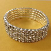 Bridal Rhinestone Stretch Bracelet 5-row Silver Tone - Ideal for Wedding, Pro...