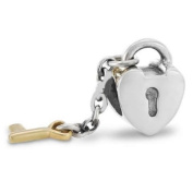 """ Key to My Heart W/gold Key "" Dangle Charm Bead Compatible with Pandora Chamilia Kay Troll Bracelet"