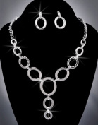 Crystal Rhinestone Necklace Chain and Earring Set, Crystal/Silver NEC-2053