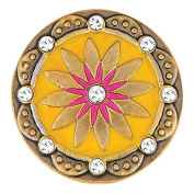 Ginger Snaps BRASS BOHO YELLOW/PINK SN06-87 Interchangeable Jewellery Snap Accessory