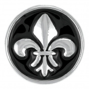 Ginger Snaps BLACK FLEUR DE LIS SN04-33 Interchangeable Jewellery Snap Accessory