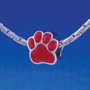 B1107 tlf - Large Red Paw - 2 Sided - Im. Rhodium Plated Large Hole Bead