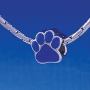 B1117 tlf - Large Royal Blue Paw - 2 Sided - Im. Rhodium Plated Large Hole Bead