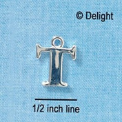 C2284 tlf - Large Silver Initial - T - Silver Plated Charm