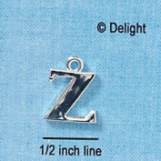 C2290 ctlf - Large Silver Initial - Z - Silver Plated Charm