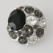 Chunk Snap Charm Multi-Colour Black Grey Clear Rhinestones 20 mm
