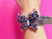 Vintage Alloy Blue Crystal Butterfly Bracelet