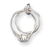Sterling Silver Wedding Ring Set Charm