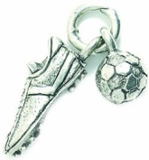 Shipwreck Beads Pewter Soccer Cleat with Ball Charm, 8 by 31mm, Silver, 2-Piece