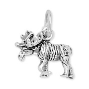 12x11.5mm Moose Charm .925 Sterling Silver