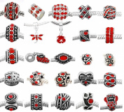 Ten (10) of Assorted Shades of Red Crystal Rhinestone Charm Beads. Compatible With Most Major Charm Bracelets.