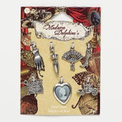"Blue Moon Beads Madame Delphine's 7 Pc Metal Charms ""Cameo"" ""Travel"""