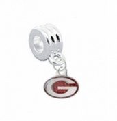 "Georgia Bulldogs PREMIUM GLITTER Charm with Connector ""Classic & Original Style"" - Fits"