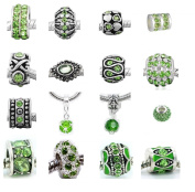 Ten (10) of Assorted Shades of Green Crystal Rhinestone Charm Beads. Compatible With Most Major Charm Bracelets.