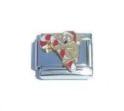 Candy Cane Gingerbread Man Italian Charm Bracelet Jewellery Link