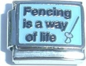 Fencing Is A Way Of Life Italian Charm Bracelet Jewellery Link