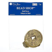 """Drop, Blue Moon Beads®, antiqued gold-plated """"pewter,"""" 10-33mm double-sided flat round Chinese coin. Sold per pkg of 7."""