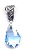 Gift Boxed Baroque Aqua Celtic Pendant Sterling Silver. Crystal Jewellery
