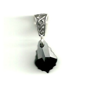 Gift Boxed Baroque Jet Celtic Pendant Sterling Silver. Crystal Jewellery