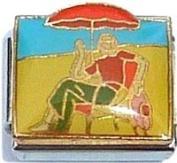 Sitting At Beach On Chair Italian Charm Bracelet Jewellery Link