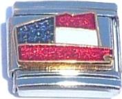 US Flag Colours On State Italian Charm Bracelet Jewellery Link
