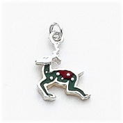 Multi-Colour Enamelled Reindeer Charm, Sterling Silver