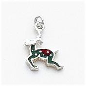 Multi-Colour Enamelled Reindeer Charm, Sterling Silver