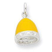 Sterling Silver Cz Yellow Enamelled Polished Bell Charm