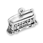 Sterling Silver Streetcar Named Desire or Cable Car Charm with Split Ring #327