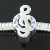 .925 Sterling Silver Music Lover Treble Clef Note Blue CZ Fits Pandora, Biagi, Troll, Chamilla and Many Other European Charm #EC390